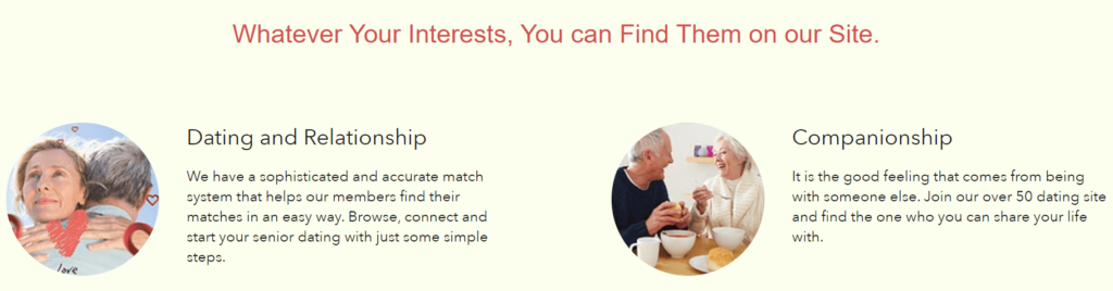 SeniorMatch dating site